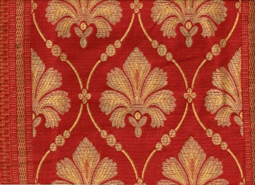 Jacquard Lilienmotiv in rot-gold (991045)